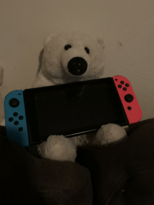 Best Friend, Best, and Free: We're kid-free for the night and I came home to my best friend holding my switch and waiting for me. Wife win for the day.