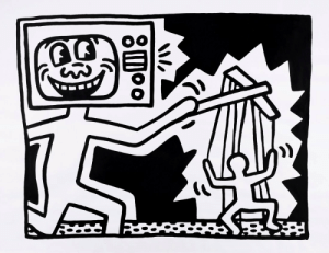 elsewheregreen:  Keith Haring, early 1980s. Media manipulation.: We  8moo elsewheregreen:  Keith Haring, early 1980s. Media manipulation.