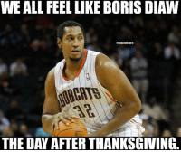 Nba, Boris Diaw, and The Day After: WE ALL FEEL LIKE BORIS DIAW  @NBAMEMES  THE DAY AFTER THANKSGIVING. Who agrees?