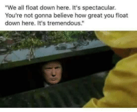 "Accurate: ""We all float down here. It's spectacular.  You're not gonna believe how great you float  down here. It's tremendous."" Accurate"