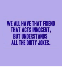 Dirty Jokes: WE ALL HAVE THAT FRIEND  THAT ACTS INNOCENT,  BUT UNDERSTANDS  ALL THE DIRTY JOKES