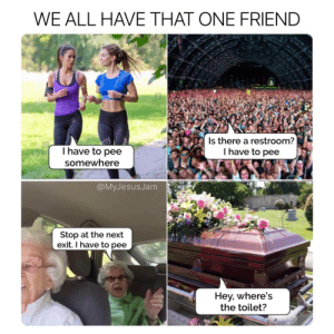 facebook memes are the best: WE ALL HAVE THAT ONE FRIEND  alany  al n  I have to pee  Is there a restroom?  I have to pee  somewhere  @MyJesusJam  Stop at the next  exit. I have to pee  Hey, where's  the toilet? facebook memes are the best