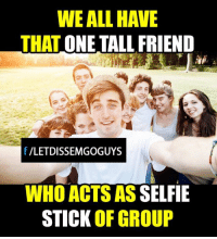 Memes, Selfie, and Selfie Stick: WE ALL HAVE  THAT  ONE TALL FRIEND  f VLETDISSEMGOGUYS  WHO ACTS AS  SELFIE  STICK OF GROUP