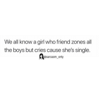 Funny, Memes, and Girl: We all know a girl who friend zones all  the boys but cries cause she's single.  @sarcasm only SarcasmOnly