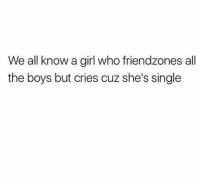 Funny, Lol, and Girl: We all know a girl who friendzones all  the boys but cries cuz she's single Tag this girl lol