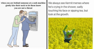 Crying, Memes, and Shower: We always see Kermit memes where  when you are behind someone at a cash machine  gently kiss their neck to let them know  you are not a threat  he's crying in the shower, sadly  touching his face or sipping tea, but  look at the growth. Amusing Memes We Threw Together Out Of Sheer Boredom