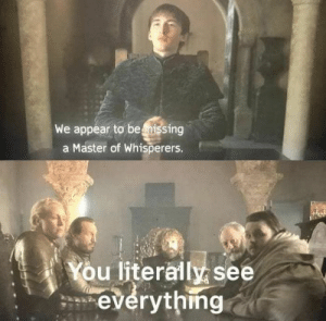 Best Game of Thrones Memes That Are Hilarious (48 Pics)-40: We appear to beissing  a Master of Whisperers.  You literally see  everythmg Best Game of Thrones Memes That Are Hilarious (48 Pics)-40