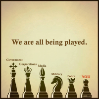 Yes we are.  Via The Mind Unleashed: We are all being played.  Government  orations Media  Military Police YOU  MIND Yes we are.  Via The Mind Unleashed