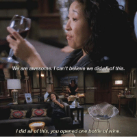 [7x08] I'm going skiing in the mountains, summer is awesome 😂: We are awesome. I can't believe we did all of this.  greysamy  I did all of this, you opened one bottle of wine. [7x08] I'm going skiing in the mountains, summer is awesome 😂