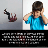 loud noises: We are born afraid of only two things  falling and loud noises. All our other  fears are learned an influenced by our  environments and cultures.  fb.com/factsweird