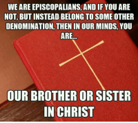 "Episcopal Church , Denomination, and Episcopalian: WE ARE EPISCOPALIANS, AND IF YOU ARE  NOT, BUTINSTEAD BELONG TO SOME OTHER  DENOMINATION, THEN IN OURMINDS, YOU  ARE  OUR BROTHER OR  SISTER  IN CHRIST This is designated as a week of prayer for the whole church--""that they all may be one."""