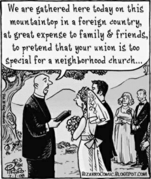 Church, Family, and Friends: We are gathered here today on this  mountaintop in a foreign country,  at great expense to family & friends,  to pretend that your union is too  Special for a neighborhood church...  BZAKKOCOMIC.BLOGSPOTCOM  Pt Kng Feds2