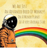Memes, 🤖, and Monkeys: WE ARE JUST  AN ADVANCED BREED OF MONKEYS  ON A MINOR PLANET  OF A VERY AVERAGE STAR