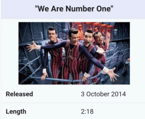 "Memes, Tumblr, and Blog: ""We Are Number One""  te  Released  3 October 2014  Length  2:18 30-minute-memes:Lets not forget this very day!"