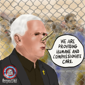 Run, Fight, and According: WE ARE  PROVIDING  HUMANE AND  COMPASSIONATE  CARE.  FASCIS  t  ST  TOP  RUN  erepeat1968  FIGHT According to Pence...