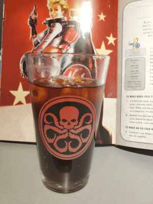 Found on r/fo4... Hail Hydra!: We are  share the  some legai  be  put our  taste  S.P.E.CLAL  3 C  +1ENDURANCE  FOR 30 MINUTES  Zes  Zes  DIFFICULTY:  EASY  Zes  PREP TIME:  12 HOURS  COOK TIME:  30 MINUTES  SERVINGS:  2 st  15 TO 20  PAIRS WELL WITH:  DUSTY'S BRAHMIN  1 te  BURGERS (PAGE 89)  TO MAKE NUKA-COLA SY  1. Combine the water, sug  pods, coriander seeds,  heat. Whisk until the su  and simmer for 10 minu  2. Remove from the heat a  juices (should be about  Once cooled, cover and  TO MAKE AN ICE-COLD G  3. Combine 1 cup seltzer  then stir together. Found on r/fo4... Hail Hydra!