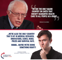 Government-run Healthcare Is NOT What America Needs! Free Markets = Free People #BigGovSucks: WE ARE THE ONLY MAJOR  COUNTRY ON EARTH THAT  DOESNT GUARANTEE HEALTH  CARE TO ALL PEOPLE AS A RIGHT  BERNIE SANDERS  WERE ALSO THE ONLY COUNTRY  THAT IS #1 IN MEDICAL RESEARCH,  INNOVATIONS, CURES, NOBEL  PRIZES AND SURVIVAL RATE.  HMMM.. MAYBE WERE DOING  SOMETHING RIGHT?!  CHARLIE KIRK.  FOUNDER TURNING POINT USA  TURNING  POINT USA Government-run Healthcare Is NOT What America Needs! Free Markets = Free People #BigGovSucks
