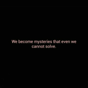 Mysteries: We become mysteries that even we  cannot solve.