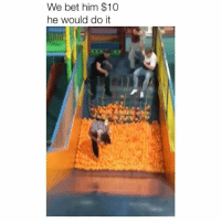 Memes, 🤖, and Bet: We bet him $10  he would do it Wipe out 😂 Credit: @alix.bowman