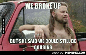 Blood is stronger than marriage…???omg-humor.tumblr.com: WE BROKE UP  BUT SHE SAID WE COULD STILL BE  COUSINS  CHECK OUT MEMEPIX.COM  MEMEPIX.COM Blood is stronger than marriage…???omg-humor.tumblr.com
