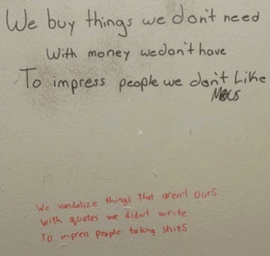 Graffiti, Money, and Vandalize: We buy things we dornt necd  uth money wedont hove  to impress people we cant Like  To  Meus  We vandalize things that aren't O'rS  with auotes we didnt wnte  To inpess People ta king shits Bathroom graffiti