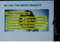 """Work, White, and Fear: WE CALL THIS WHITE FRAGILITY  White Fragility (n):  """"A state in which even a minimum amount of racial stress  becomes intolerable, triggering a range of defensive moves  These moves include outward display of emotions such as  fear and guilt, and behaviors such as argumentation  silence and leaving the stress-inducing situation.""""  silence and leaving the stmes"""