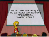 Eddy Opens Facts book: We can never have Instagram  like Egg records because asking  for upvotes is a  Violation of Rule7 Eddy Opens Facts book