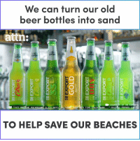 "It only takes a few seconds for this machine to turn old beer bottles into sand for our beaches.: We can turn our old  beer bottles into san  attn:  亢  Y OF DB  "" DIGIİL TRENDS (2017)  RTS  ""THIS  TO FINE-ORAIN  NE PULVER  TO HELP SAVE OUR BEACHES It only takes a few seconds for this machine to turn old beer bottles into sand for our beaches."