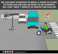 Life, Traffic, and Indianpeoplefacebook: WE CAN WAIT 9 MONTHS TO BIRTH, 4 YEARS TO STUDY,  25 YEARS FOR JOB AND 30 YEARS TO GET MARRIED  BUT CAN'T WAIT 1 MINUTE IN TRAFFIC FOR OUR LIFE  LAUGHINO  Colowrs  ote時  Laughina Colours  /LaughingColours