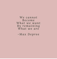 What,  Want, and Max: We cannot  Becom e  What we want  By remaining  What we are  - Max Depree
