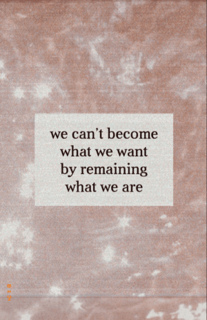 What,  Want, and Cant: we can't become  what we want  by remaining  what we are  2