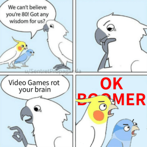 Fucking Boomers: We can't believe  you're 80! Got any  wisdom for us?  Sentret Propaganda  ОК  BMER  Video Games rot  your brain  D Fucking Boomers