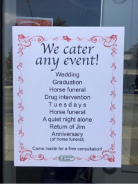 Being Alone, Free, and Horse: We cater  any event!  .  Wedding  Graduation  Horse funeral  Drug intervention  Tuesdays  Horse funeral  A quiet night alone  Return of Jim  Anniversary  (of horse funeral)  Come inside for a free consultation! Tuesdays? Sold