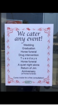 Being Alone, Free, and Horse: We cater  any event!  Wedding  Graduation  Horse funeral  Drug intervention  Tuesdays  Horse funeral  A quiet night alone  Return of Jim  Anniversary  of horse funeral)  Come inside for a free consultation! me irl