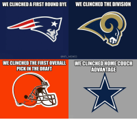 Football, Memes, and Nfl: WE CLINCHED A FIRST ROUND BYE  WE CLINCHED THE DIVISION  @NFL_MEMES  WE CLINCHED THE FIRST OVERALL  PICKIN THE DRAFT  WE CLINCHED HOME COUCH  ADVANTAGE Quick recap of Sunday's games https://t.co/mrAcf3nGyC