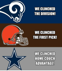 """Dallas Cowboys, The Division, and Couch: WE CLINCHED  THE DIVISION  WE CLINCHED  THE FIRST PICK!  @GhettoGronk  WE CLINCHED  HOME COUCH  ADVANTAGE """"Just wait until we get Zeke back!"""" - Every Cowboys fan https://t.co/HAlY78totR"""