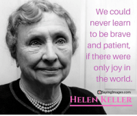 30 Helen Keller Quotes on Why Perseverance Always Pays Off #sayingimages #hellenkellerquotes #hellenkeller: We could  never learn  to be brave  and patient,  if there were  only joy in  the world.  aSayingImages.com  HELEN KELLER 30 Helen Keller Quotes on Why Perseverance Always Pays Off #sayingimages #hellenkellerquotes #hellenkeller