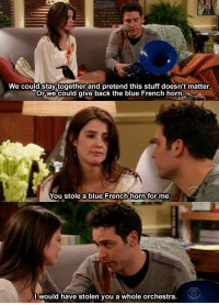 Memes, Ted, and Blue: We could stay together and pretend this stuff doesn't matter  Orwe could give back the blue French horn  You stole a blue French horn for me  l would have stolen you a whole orchestra Find your Ted Mosby. #HIMYM https://t.co/cBBwaHWtd2