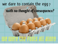 Thought, Dare, and Egg: we dare to contain the egg?  uuith no thought of consequence? https://t.co/3hDlGkoI3d
