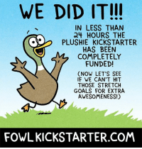 Goals, Memes, and Kickstarter: WE DID IT!!!  IN LESS THAN  24 HOURS THE  OO  PLUSHIE KICKSTARTER  HAS BEEN  COMPLETELY  FUNDED!  (NOW LET'S SEE  IF WE CAN'T HIT  THOSE STRETCH  GOALS FOR EXTRA  AWESOMENESS!)  FOWLKICKSTARTER.COM So blown away that this happened so quickly! Can't wait to see what other amazing stuff we can make if we can reach the stretch goals!