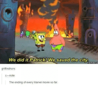 We Did It Patrick We Saved The City: We did it Patrick! We saved the city.  Memes CO  griff indhors  note  The ending of every Marvel movie so far.