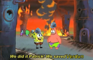 [OC] A Pyrrhic victory at the Battle of Verdun. (Taken 18 Dec, 1916; Colourized 1993, Imperial War Museum.): We did it Patrick! We  saved Verdun [OC] A Pyrrhic victory at the Battle of Verdun. (Taken 18 Dec, 1916; Colourized 1993, Imperial War Museum.)
