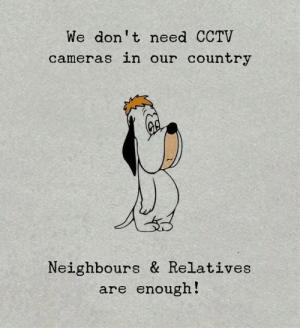 Cameras: We don't need CCTV  cameras in our country  Neighbours & Relatives  are enough!