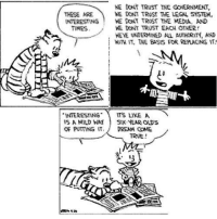 Memes, Mild, and Bill Watterson: WE DONT TRUST THE GoNERNMENT,  THESE ARE  WE DONT TRUST THE LEGAL SYSTEM,  INTERESTING  WE DONT TRUST THE MEDA. AND  WE DONT TRUST EACH OTWER!  TIMES  KEYE UNDERMINED AL AUHORITY, AND  IT, THE BASS FOR RERKING IT!  INTERESTING  ITS LIKE A  IS A MILD WAY  SIX YEAR CADS  OR PUTTING IT  DREAM COME  TRNE Bill Watterson, Calvin & Hobbes
