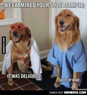 Classic Mikeomg-humor.tumblr.com: WE EXAMINED YOUR STOOL SAMPLE;  IT WAS DELICIOUS  SHUT UP MIKE  CНECK OUT MEМЕРIХ.COM  MEMEPIX.COM Classic Mikeomg-humor.tumblr.com
