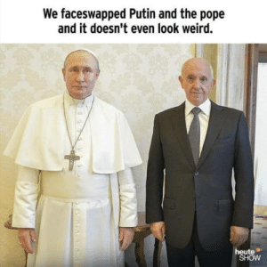"""laughoutloud-club:  German satire by """"Heute-Show"""": We faceswapped Putin and the pope  and it doesn't even look weird.  heute  SHOW laughoutloud-club:  German satire by """"Heute-Show"""""""