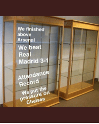 A new look at Spurs trophy cabinet 👎😂⚽️ Spurs UCL Out Trophies Funny: We finished  above  Arsenal  We beat  Real  Madrid 3-1  Attendance  Record  We put the  pressure on  Chelsea A new look at Spurs trophy cabinet 👎😂⚽️ Spurs UCL Out Trophies Funny