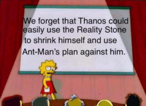 Club, Tumblr, and Blog: We forget that Thanos could  easily use the Reality Stone  to shrink himself and use  Ant-Man's plan against him laughoutloud-club:  Never forget.
