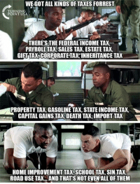 Memes, School, and Taxes: WE GOT ALL KINDS OF TAXES FORREST  FURNTNSA  POINTU  THERES THE FEDERALINCOME TAX  PAYROLL TAX, SALES TAX, ESTATE TAX.  GIFT TAX,CORPORATE TAX INHERITANCE TAX  US  PROPERTY TAX, GASOLINE TAX, STATE INCOME TAX,  CAPITAL GAINS TAX, DEATH TAX, IMPORT TAX  HOME IMPROVEMENT TAX,SCHOOL TAX, SIN TAX,  ROAD USE TAX. AND THATS NOT EVEN'ALL OF THEM