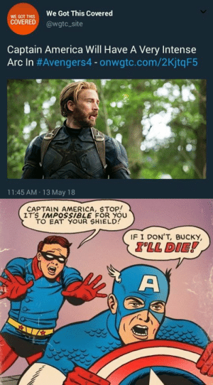 America, Tumblr, and Blog: WE GOT THIS  COVERED  We Got This Covered  @wgtc_site  Captain America Will Have A Very Intense  Arc In #Avengers4-onwate.com/2KjtqF5  11:45 AM 13 May 18   CAPTAIN AMERICA, STOP!  IT'S IMPOSsiBLE FOR YOU  TO EAT YOUR SHIELD  IF I DON'T, BUCKY  TLL DIE! guardianavngrs:  the intensity is real